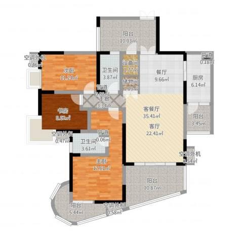 育才竹岛3室2厅2卫1厨152.00㎡户型图