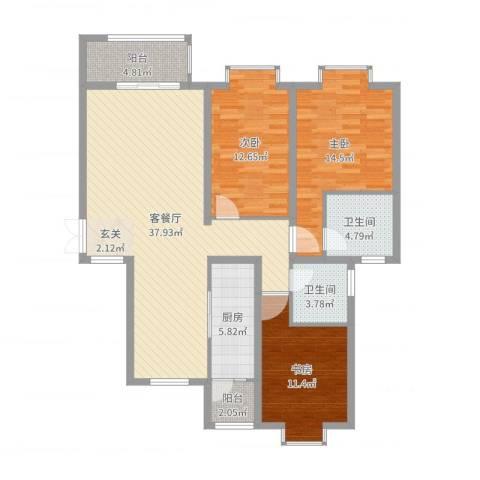 金吉华冠苑3室2厅2卫1厨122.00㎡户型图