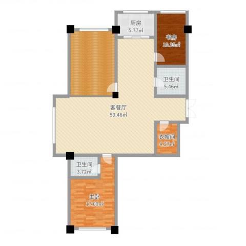 中凯华庭2室2厅2卫1厨158.00㎡户型图