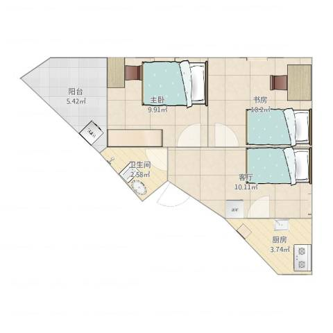 颖园小区2室1厅1卫1厨52.00㎡户型图