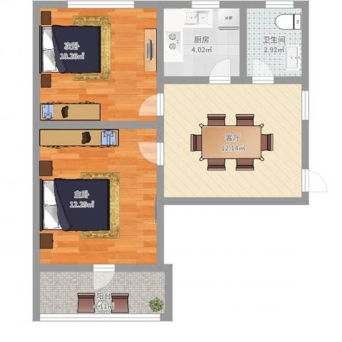 南桥小区2室1厅1卫1厨57.00㎡户型图