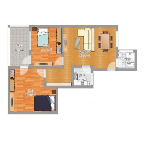 康泰花苑2室2厅1卫1厨78.00㎡户型图