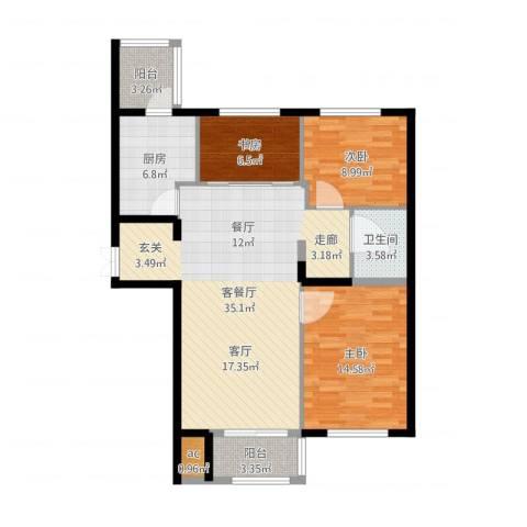 锦湖・金色世家3室2厅1卫1厨104.00㎡户型图