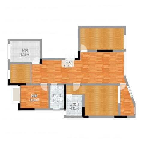 富都豪园4室2厅2卫1厨120.00㎡户型图