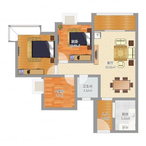 西雅图2室1厅1卫1厨91.00㎡户型图