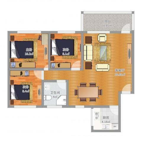 怡乐花园3室2厅1卫1厨72.21㎡户型图