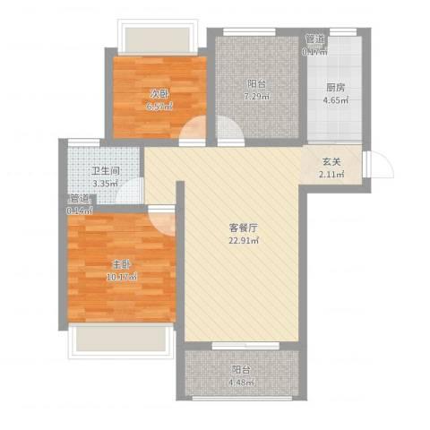 绿地启航社5期2室2厅1卫1厨75.00㎡户型图
