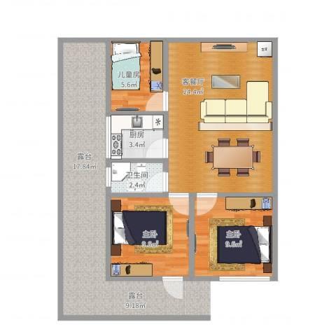地震局宿舍3室2厅1卫1厨69.00㎡户型图
