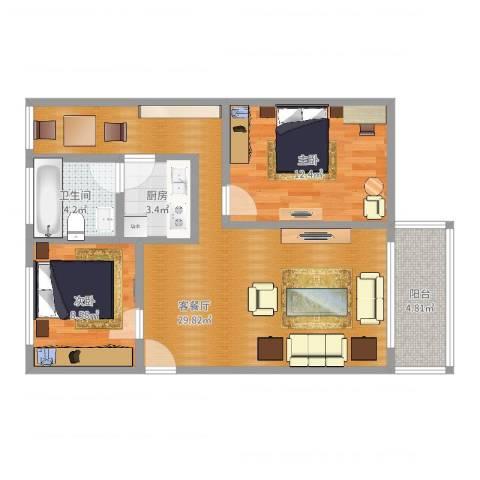白云山制药厂后山宿舍2室2厅1卫1厨79.00㎡户型图