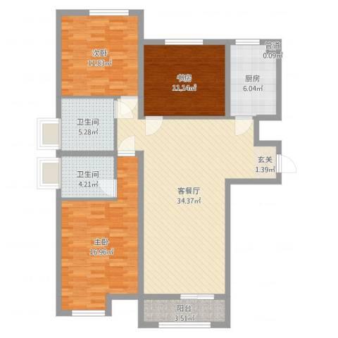 七里河・佳洲美地3室2厅2卫1厨117.00㎡户型图