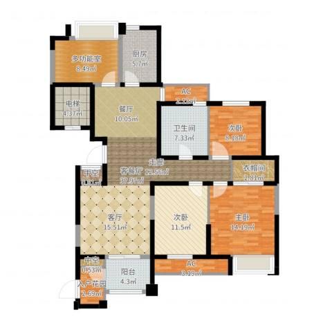 百乐广场3室2厅1卫1厨143.00㎡户型图