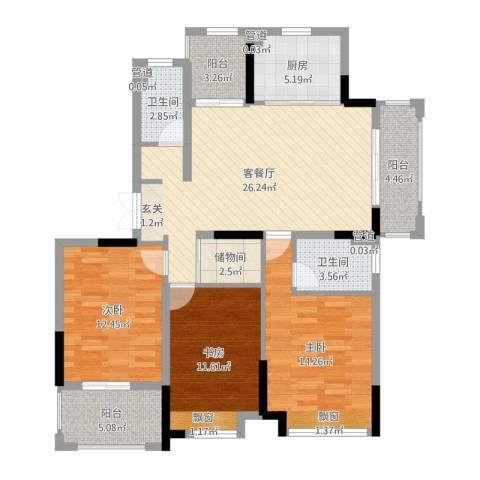 金茂国际3室2厅2卫1厨114.00㎡户型图