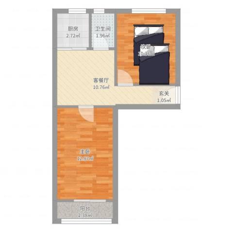 北京市朝阳区西坝河中里2室2厅1卫1厨51.00㎡户型图
