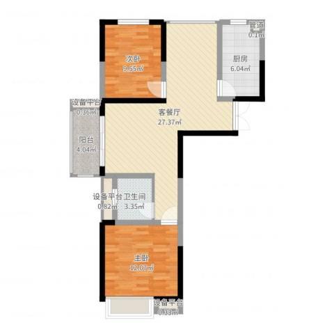 国耀花半里2室2厅1卫1厨80.00㎡户型图