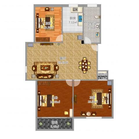 馨安苑3室1厅1卫1厨142.00㎡户型图