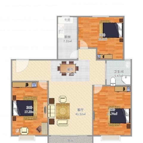 由由民丰苑3室1厅1卫1厨135.00㎡户型图