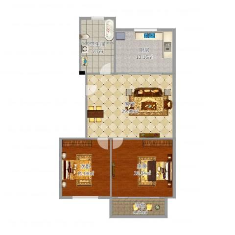 馨安苑2室1厅1卫1厨115.00㎡户型图
