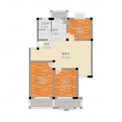 太湖花园三期3室2厅1卫1厨106.00㎡户型图