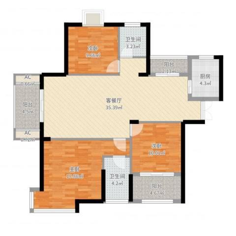 铜锣湾香逸澜湾3室2厅2卫1厨122.00㎡户型图