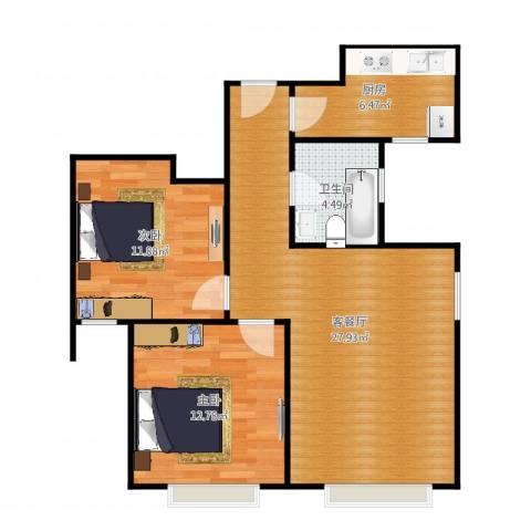 京贸国际城2室2厅1卫1厨85.00㎡户型图