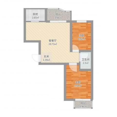 吴淞新村2室2厅1卫1厨57.00㎡户型图