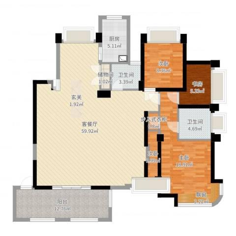 瑶溪金御湾4室2厅2卫1厨153.00㎡户型图