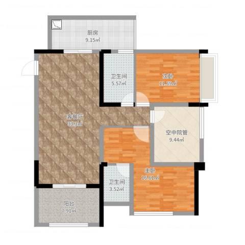 泽胜中央广场2室2厅2卫1厨121.00㎡户型图