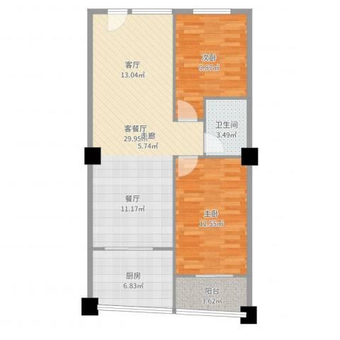 富仕雅庭2室2厅1卫1厨83.00㎡户型图