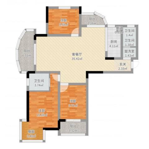 名桂坊3室4厅3卫1厨117.00㎡户型图