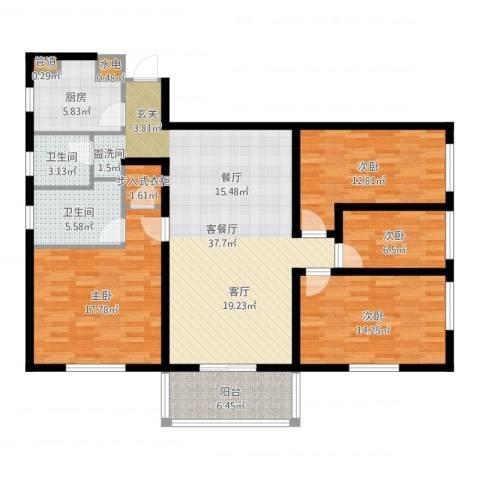 宏源大厦(宏源公寓)4室2厅2卫1厨141.00㎡户型图