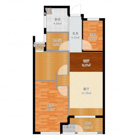 新城悠活城3室1厅3卫2厨85.00㎡户型图