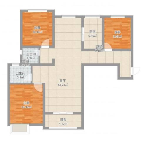 鼓楼上城3室1厅2卫1厨116.00㎡户型图