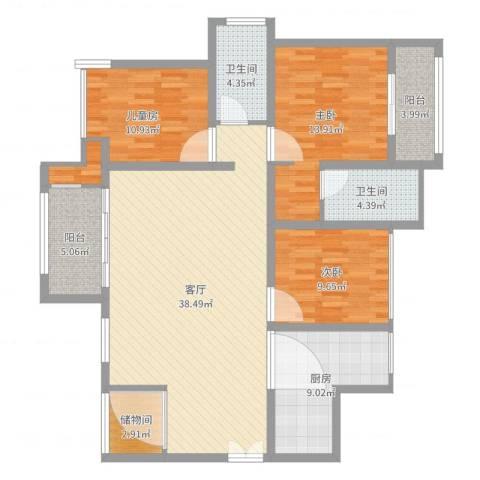 建曙高尔夫1号3室1厅2卫1厨128.00㎡户型图