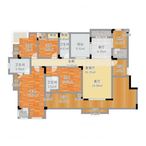 中铁山水天下4室2厅3卫1厨209.00㎡户型图