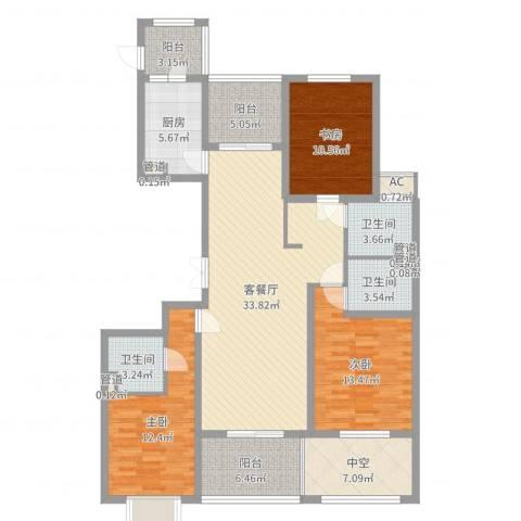 旭辉十九城邦3室2厅3卫1厨137.00㎡户型图