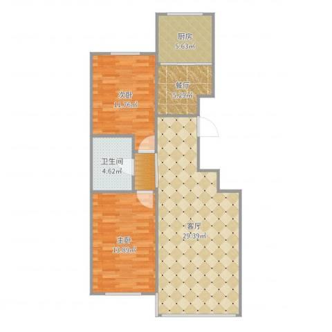 塞上江南2室2厅1卫1厨105.00㎡户型图