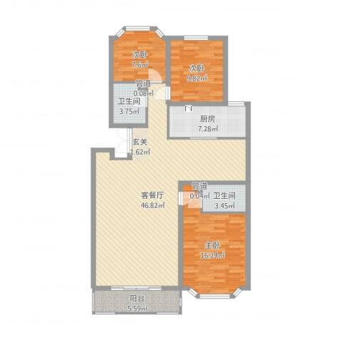 西安锦园3室2厅2卫1厨126.00㎡户型图