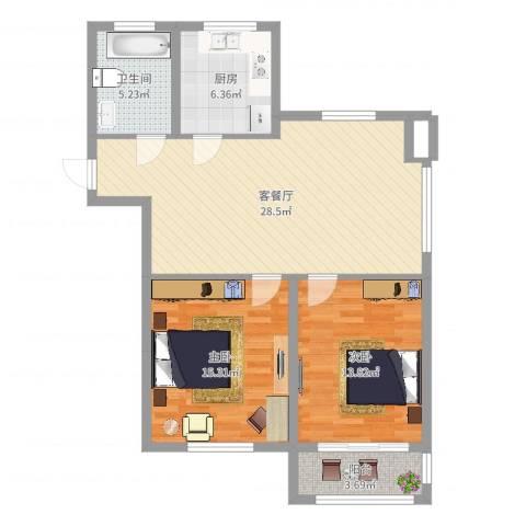 金色蓝庭2室2厅1卫1厨91.00㎡户型图