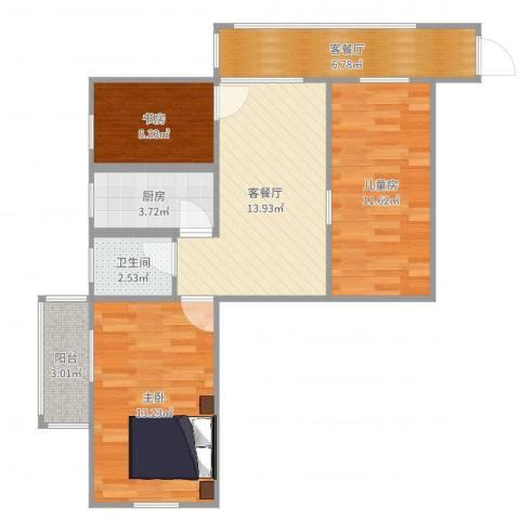 花果山3室4厅1卫1厨75.00㎡户型图