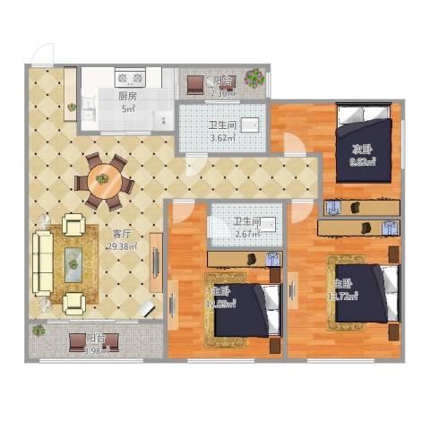 临江佳园3室1厅2卫1厨103.00㎡户型图
