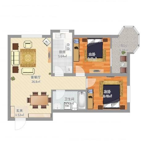 帝景公馆2室2厅1卫1厨77.00㎡户型图