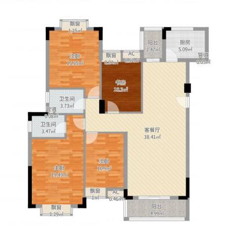 花园新村4室2厅2卫1厨144.00㎡户型图