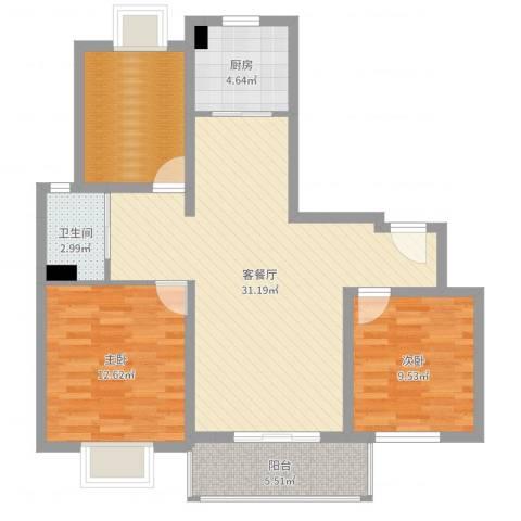 爱庐世纪新苑2室2厅1卫1厨93.00㎡户型图