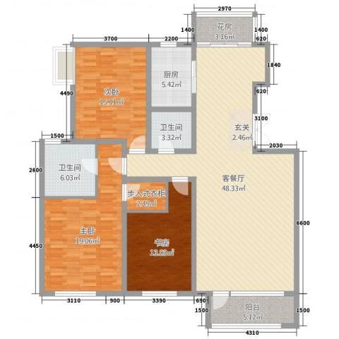 浪琴湾墅3室2厅2卫1厨160.00㎡户型图