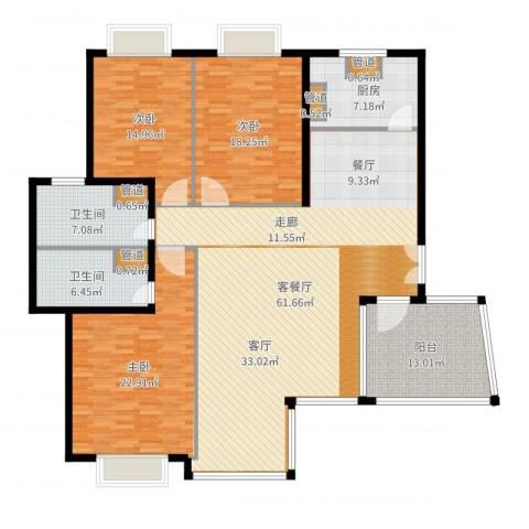 仁爱濠景庄园3室2厅2卫1厨193.00㎡户型图