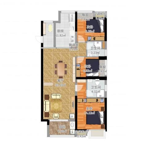 东莞厚街万达广场2室1厅2卫1厨103.00㎡户型图