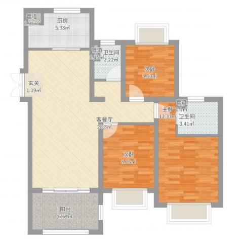 如皋中南世纪城3室2厅2卫1厨109.00㎡户型图