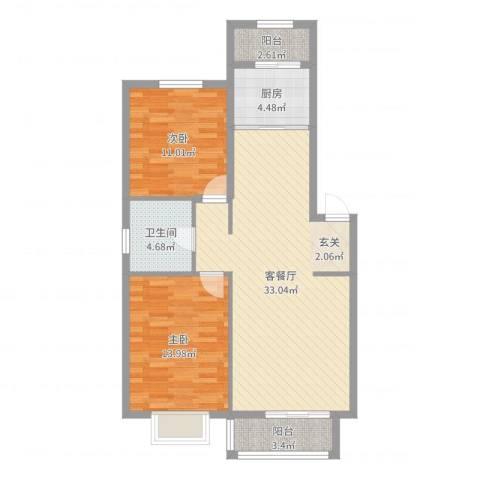 高塘二村2室2厅1卫1厨91.00㎡户型图