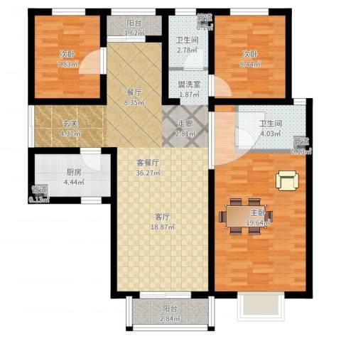 香缤国际城3室2厅2卫1厨110.00㎡户型图