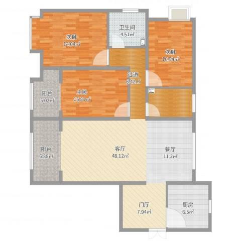 潮白河孔雀城・温莎郡3室1厅1卫1厨130.00㎡户型图